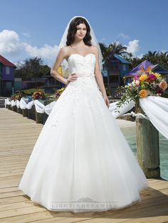 Tulle And Embroidered Lace Ball Gown With A Beaded Flower Satin Belt