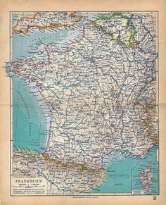 France Vintage Map 1928 to Frame Wall Decor by carambas on Etsy, $16.00