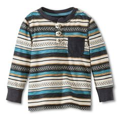 Infant Toddler Boys' Striped Henley Tee