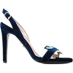 Chiara Ferragni Amelia Sandals (1,740 PEN) found on Polyvore featuring shoes, sandals, blue, ankle strap shoes, blue open toe shoes, ankle tie sandals, open toe sandals and stilettos shoes