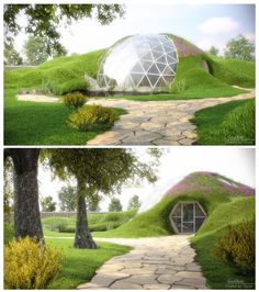 A beautiful CGI rendering of an earth-sheltered home concept with geodesic dome feature