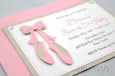 Ballet Slippers Invitation for Girls Ballerina or Dance Theme Birthday Party on Etsy, $24.00