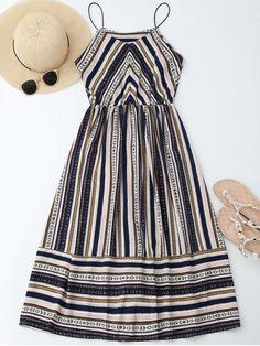 Elastric Waist Multi Stripes Sundress - COLORMIX M