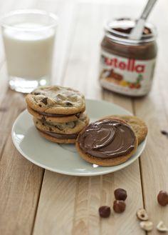 Hazelnut Chocolate Chip Nutella Sandwich Cookies