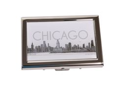 CHICAGO COLLECTION Pencil Illustration Stainless Steel Credit Business | Alesia C. | www.AlesiaC.com | Best Chicago gifts and souvenir | Timeless Accessories and Gifts