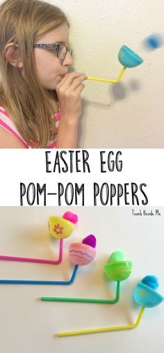 Egg Pom-Pom-Poppers Easter Egg Pom-Pom Poppers: Fun & Easy Easter craft for kids! Cool Easter STEM activity as well. via Egg Pom-Pom Poppers: Fun & Easy Easter craft for kids! Cool Easter STEM activity as well. Easter Art, Easter Crafts For Kids, Toddler Crafts, Easter Eggs, Fun Crafts, Easter Crafts For Preschoolers, Quick Crafts, Plastic Egg Crafts For Kids, Easter Egg Hunt Ideas
