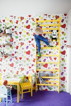 Yellow bar and the colorful patterns open up creativity and fun in children's room