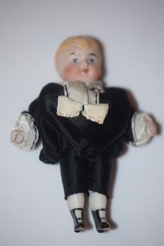 Antique Doll Miniature All Bisque Fancy Boots China Head Dollhouse