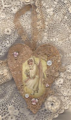 Vintage Lace Collage Heart Ornament Victorian Snow Angel Girl