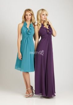 Halter Ruffled #Bridesmaid Dress with Ruched Waistline #purple #blue