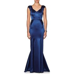 Zac Posen Women's Satin Fitted Gown ($3,490) ❤ liked on Polyvore featuring dresses, gowns, navy, blue evening gown, navy gown, navy blue evening dress, blue dresses and navy blue evening gown