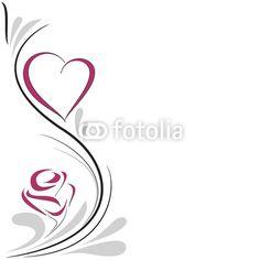 corazón y rosa decoración