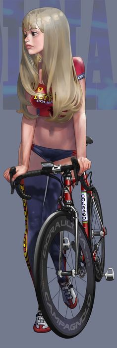 """Colnago Master X-Light - Digital Illustration by Hitomi Kazuya [*Hitomin*] (b. Illustration Fantasy, Character Illustration, Bike Illustration, People Illustration, Character Concept, Character Art, Concept Art, Manga Sexy, Drawn Art"