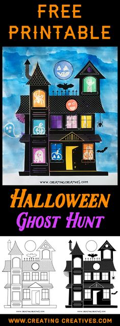 A Ghost Hunt - Halloween Painting with Free Printable - Creating Creatives