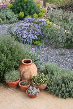 mediterranean dry gravel garden. Greece. Katerina Georgi