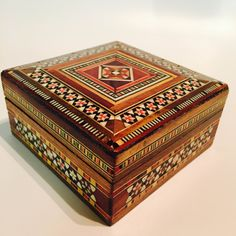 #Unique #Handmade #Las #Vegas #Mother of #Pearl #Mosaic Inlaid #Wood #Jewelry #Box