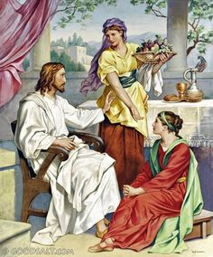 Jesus with Mary and Martha Luke Christian Images, Christian Art, Religious Images, Religious Art, Religious Paintings, Trinidad, Jesus Christ Painting, Bible Images, Mary And Martha