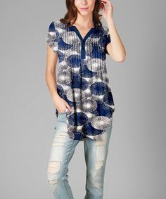 Loving this Blue & Gray Circles Pin Tuck Button-Front Tunic - Plus on #zulily! #zulilyfinds