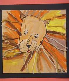 African Lions- K. Starting off with the lion face, color in the features with neutral colored crayons.  put orange, yellow, & brown paint on their tables and show them how to paint straight lines radiating from the lion's face to represent the mane.  Lastly, put pieces of neutral colored yarn on the tables & let them glue pieces of yarn on top of the lion's mane.