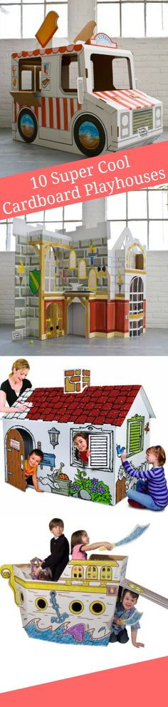 10 Super Cool Cardboard Playhouses:  Ice Cream Truck, Castle, Pirate Ship, Cottage and more fun indoor cardboard playhouses for kids. #playhouse