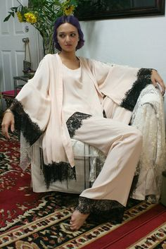 Silk Pajamas and Robe Set Silk Lingerie Silk от SarafinaDreams