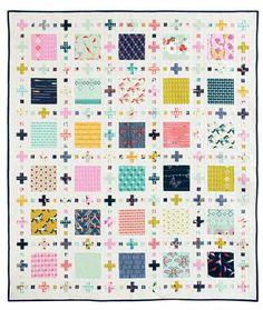 Squares Plus Quilt Kit: This playful quilt designed by Sandra Clemons is a perfect platform to display fun prints from Melody Miller's Mustang collection and Rashida Coleman-Hale's Moonlit collection for Cotton+Steel.