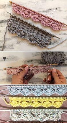 Knitting Help, Knitting Stiches, Baby Knitting Patterns, Lace Knitting, Crochet Stitches, Crochet Patterns, Crochet Crafts, Crochet Yarn, Knitting Projects