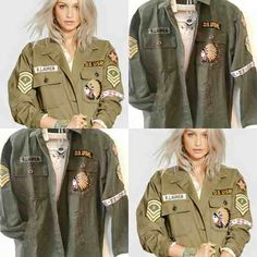 Camisa Chaqueta Militar Bordada Ralph Exclente Calidad Mujer Army Green Jacket Outfit, Military Jacket, Professional Outfits, Military Fashion, Fall Winter Outfits, Grunge Fashion, Parka, Autumn Fashion, Clothing