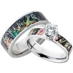 His and Hers CZ Camo Wedding Ring Set |