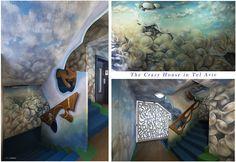 """The Crazy House"" in Tel Aviv, Israel at Hayarkon 181 Hand-painted walls of the lobby of the building and all floors by artist Shlomith Bollag. Hand Carving Stair Railings. photo by Kaśka Sikora #TelAviv #Israel #hayarkon #realestate #interior #painting #luxuryrealestate #luxuryhomes #luxurylife#designer #decoration #telaviv #sea #art #interiordesign #KaśkaSikora #gaudistyle#luxuryapartments"
