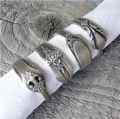Napkin Rings Antique Silverware Patterns Set Of 4 Spoon Jewelryspoon Ringssilver