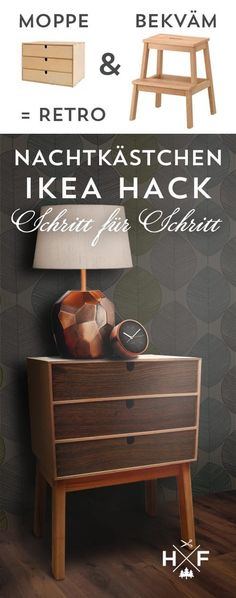Step by step instructions for a simple Ikea hack: made from MOPPE and BEK . Step by step instructions for a simple Ikea hack: conjure up a chic retro bedside table from MOPPE and BEKVÄM. Ikea Furniture, Furniture Projects, Furniture Design, Bedroom Furniture, Chic Retro, Closet Ikea, Retro Bedside Tables, Diy Casa, Diy Wall Shelves