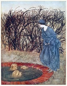 They thanked her and said good-bye, and she went on her journey. Arthur Rackham, from English fairy tales, retold by Flora Annie Steel, New York, 1922. (Source: archive.org.