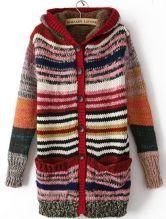Orange Hooded Long Sleeve Striped Coat $37.12