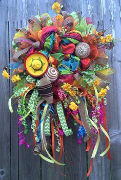 Fiesta Wreath Cinco De Mayo Wreath Fiesta by BaBamWreaths on Etsy