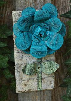 Painted Metal Flower Sculpture