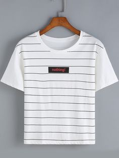 White Round Neck Striped Letters Print T-Shirt