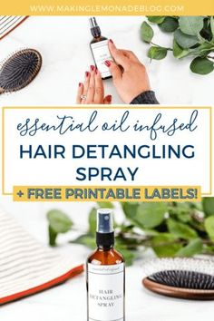 Click to see how to make this easy, 3 ingredient hair detangling spray! Infused with essential oils, this detangler spray works on the most matted or curly hair without weighing it down... leaving hair shiny, healthy, and tangle free. Perfect for using before each school day thanks to the powerful essential oils, too . ;-) Essential Oils For Hair, Young Living Essential Oils, Diy Hair Detangler, Diffuser Recipes, Green Cleaning, Natural Cleaning Products, Shiny Hair, Diy Hairstyles, Diy Beauty