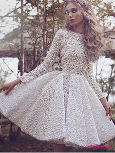 Unique Long Sleeves Full Lace Evening Gowns Short Homecoming Dress PD20186075