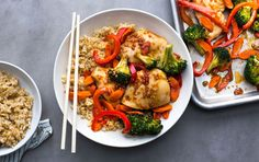 This recipe requires just one pan and six ingredients, yet provides 2–3 servings of vegetables and more than 39 grams of protein. If you're watching your carbs, replace the brown rice with cauliflower rice or extra vegetables.