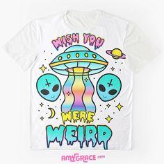 Wish You Were Weird Alien Space Goth / Pastel Goth / Soft Grunge t-shirt for teens