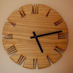 Home Wall Decor - Wall Clock: Roman White Oak - . Home Wall Decor - Wall Clock: Roman White Oak - Wall Clock Wooden, Wood Clocks, Wood Wall, Diy Clock, Clock Decor, Clock Ideas, Wall Clock Drawing, Mur Diy, Handmade Wall Clocks