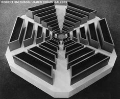 "Robert Smithson: A NONSITE, PINE BARRENS, NEW JERSEY 1968. Sculptural Component: Aluminum bins, sand, with Work on Paper: aerial photograph, map. Sculpture: H: 12"" W: 65 1"" D: 65 1"". Collection of National Gallery of Art, Washington, DC, gift of Virginia Dwan."