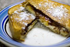 Grilled Cheese for Dessert- OMG! 4 slices of your favorite bread Soft Cream Cheese Nutella 1 banana Powdered Sugar for dusting Unique Desserts, Delicious Desserts, Yummy Food, Tasty, Fun Food, Sweets Recipes, Cheese Recipes, Cheese Dessert, Cheese Food