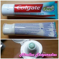 Die Tube der Colgate Total Fresh Stripe Zahnpasta.