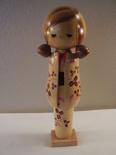 "Vintage JAPANESE Asian 11"" TALL Hand Painted KOKESHI Wooden GIRL DOLL Stamped"