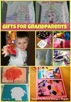 An easy collection of homemade gifts for Grandparents....perfect for even the younger toddler to make!