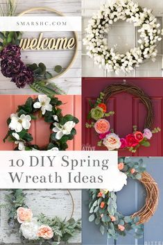I absolutely love seasonal wreaths, and in this post I've listed 10 of my favorite ideas for DIY spring wreaths from Pinterest. All of these DIYs are super easy and one's that I'd love to try! #DIY #ideas #wreaths #crafts #spring #decorations #decor #homedecor #springwreaths #florals #arrangements #inspiration #ideas