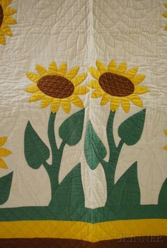 Sunflower quilt details, design by Margaret Hayes of Knoxville for Mountain Mist batting.