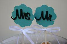 Mr & Mrs Wedding Cupcake toppers Custom Order by ThePaperLot